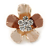Bronze/ Magnolia Enamel Clear Crystal Flower Brooch In Gold Tone - 20mm
