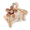 Bronze/ Magnolia Daisy Crystal Floral Brooch - 35mm L