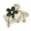 Green Daisy Crystal Floral Brooch - 35mm L
