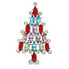 Multicoloured Crystal Christmas Tree Brooch In Rhodium Plating - 65mm L
