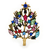 Multicoloured Crystal Christmas Tree Brooch In Gold Plating - 48mm L