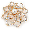 Gold Plated Clear Austrian Crystals 3D Rose Brooch - 55mm