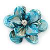 Sky Blue Shell Flower Brooch - 70mm Diameter