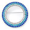 Blue/ Aqua/ Clear Austrian Crystal Open Cut Eternity Circle of Love Brooch In Rhodium Plating - 50mm