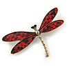 Gold Tone Dark Red Snake Style Faux Leather Dragonfly Brooch - 70mm W