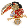 Multicoloured Exotic Bird In Gold Plating - 40mm L