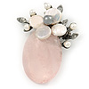 Handmade Light Pink Oval Resin with Mother Of Pearl Floral Detailing Brooch/ Pendant In Pewter Tone - 60mm L