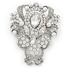 Bridal/ Wedding Clear Austrian Crystal, White Glass Pearl Corsage Brooch In Rhodium Plating - 65mm L