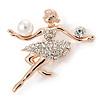 Gold Plated Clear Austrian Crystal, Glass Pearl Ballerina Brooch - 40mm L