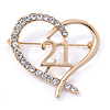 Gold Plated Clear Crystal Open Cut Heart ''21'' Brooch - 35mm W