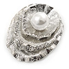 Layered Crystal 'Shell' with Pearl Brooch In Silver Tone Metal - 45mm L
