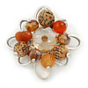 Orange, Brown Glass, Resin Bead Floral Handmade Brooch In Silver Tone - 40mm L