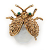 Small Light Topaz Austrian Crystal, Freshwater Pearl Ladybug Brooch In Gold Tone Metal - 22mm L