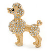 Gold Plated Clear Crystal Poodle Dog Brooch - 40mm Width