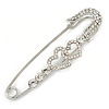 Rhodium Plated, Clear Crystal Double Heart Safety Pin Brooch - 78mm L
