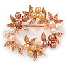 White/ Brown/ Light Orange Faux Pearl, Crystal Wreath Brooch In Rose Gold Tone Metal - 55mm W