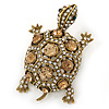 Vintage Inspired Clear/ Citrine Austrian Crystals Turtle Brooch In Antique Gold Metal - 55mm L