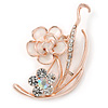 Romantic White Enamel, Crystal Floral Brooch In Gold Plating - 50mm L