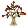 Vintage Inspired Siam Red Crystal Tree Brooch In Antique Gold Tone Metal  - 75mm L
