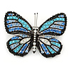 Black/ Sky Blue/ Violet Blue/ Milky White Austrian Crystal Butterfly Brooch In Silver Tone - 50mm W