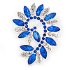 Large Sapphire Blue/ Clear Corsage Brooch In Silver Tone Metal - 65mm L