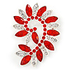 Large Siam Red/ Clear Corsage Brooch In Silver Tone Metal - 65mm L