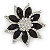 Black/ Clear Crystal Flower Corsage Brooch In Silver Tone - 55mm D