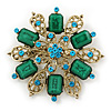 Vintage Inspired Teal Green Acrylic Bead, Light Blue Crystal Filigree Flower Brooch In Gold Tone - 60mm D