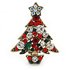 Small Vintage Inspired Red, Green, Clear Crystals Christmas Tree Brooch In Antique Gold Plating - 40mm L