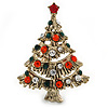 Vintage Inspired Red/ Green/ Clear Crystal Christmas Tree Brooch In Antique Gold Tone Metal - 43mm L