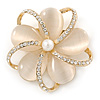 Neutral Cat Eye Stone, Crystal Flower Brooch In Gold Tone Metal - 40mm Across