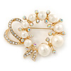 Gold Tone Clear/ Ab Crystal, Cream Faux Pearl Wreath Brooch - 50mm W