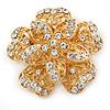 Bridal/ Wedding/ Prom 3D Clear Crystal, Filigree Flower Brooch In Gold Tone - 53mm D
