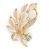 Neutral Cat Eye Stone, Crystal Floral Brooch In Gold Tone Metal - 55mm L