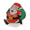 Flashing LED Lights Christmas Santa with Magnetic Closure Brooch - 35mm