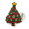 Flashing LED Lights Christmas Tree with Magnetic Closure Brooch - 30mm