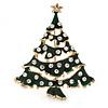 Holly Jolly Clear Crystal Dark Green Enamel Christmas Tree Brooch In Gold Plating - 55mm L