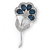 Stunning Blue CZ, Clear Austrian Crystal Floral Brooch In Rhodium Plated Metal - 52mm L