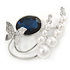 Rhodium Plated Blue CZ, Glass Pearl Floral & Butterfly Brooch - 45mm Across