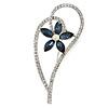 Open Asymmetrical Heart with Blue CZ Flower Brooch In Rhodium Plating - 65mm Across