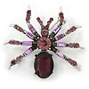 Vintage Inspired Purple/ Violet Crystal Spider Brooch In Antique Silver Tone - 40mm Across