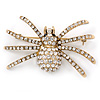 Vintage Inspired Clear Crystal Spider Brooch In Gold Tone - 55mm Across