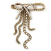 Vintage Inspired Clear Crystal Bow with Tassel Safety Pin Brooch In Antique Gold Tone - 50mm Across