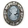 Vintage Inspired Classic Cameo Brooch In Bronze Tone - 45mm Across