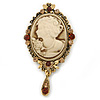 Vintage Inspired Amber/ Champagne Crystal Cameo with Charm Brooch In Antique Gold Tone - 70mm L
