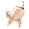 Clear Crystal with Cat Eye Stone Butterfly Brooch In Gold Tone - 60mm Across