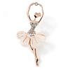 Crystal, Milky White Resin Ballerina Brooch In Gold Tone Metal - 55mm L