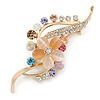 Multicoloured Cat Eye, Crystals Floral Brooch In Gold Tone - 65mm L