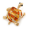 Gold Plated Crystal Enamel Turtle Brooch - 40mm L