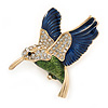 Multicoloured Crystal Hummingbird Brooch In Gold Plated Metal - 40mm